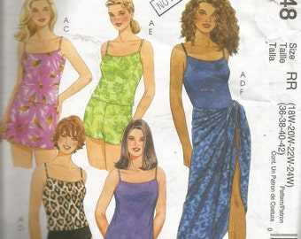 VINTAGE McCall's ladies swimdress, sarong, skirt, briefs, swim shorts pattern size 18W to 24W..great pattern for larger size women..