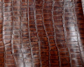 EMB35 Leather Cow Hide Cowhide Craft Fabric Brown Embossed Turtle 22 sq ft