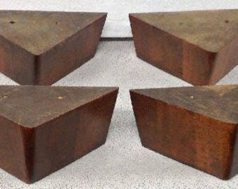 "T200 4 Furniture Legs Feet Tapered Couch Sofa Ottoman Medium Oak Finish 3"" tall"