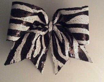 Black and White Sequin Cheer Bow