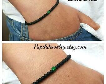 SALE MENS BRACELET Matte Onyx-Malachite Men's Jewelry Gemstone Bracelets Mens Beaded Bracelets Beaded 4mm Men Bracelet Simple Mens Bracelets