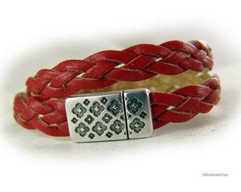 Womens bracelet braided leather wrap bracelet red silver - womens gift for her wife girlfriend best friend sister mother