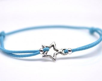 Silver star bracelet turquoise cord