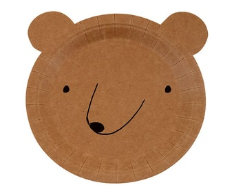 "Cute Bear Plates (Set of 10) - Meri Meri Let's Explore 7.5"" Paper Party Plates 