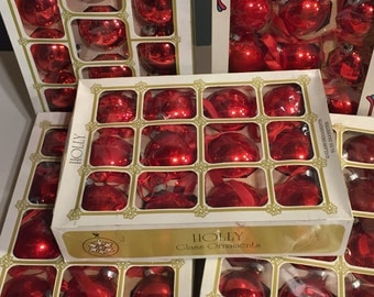 60 Holly Noelle Brand Red Mercury Glass Ornaments