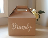 Bridesmaid Boxes - Personalized Name Gable Boxes - Set of 6 - 8 x 4 7/8 x 5 1/4