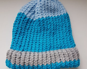 Knitted Beanie - Winter Hat - Turquoise