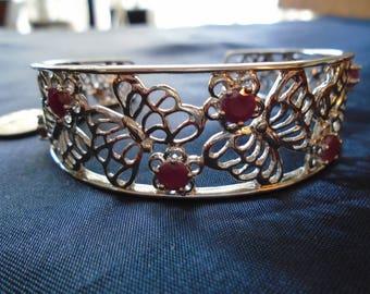 """Ruby Butterfly Cuff 26g Sterling Silver Bracelet (7.75"""")"""