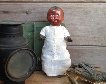 antique baby doll / celluloid doll / African American baby doll / collectible doll / vintage doll