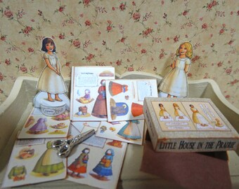 Little House in the Prairie Paper Dolls Box Miniature  1:12 scale for Dollhouses