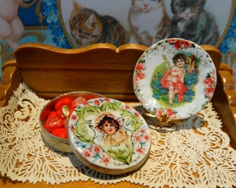 Valentine's Day Biscuit Metal Tin Miniature for Dollhouse 1:12 scale