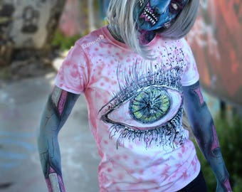 Pink Tie Dye T shirt Womens Graphic Tee, Hand Painted Eye Top