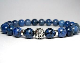 Mens Sodalite Bracelet, Mens Beaded Bracelet, Bracelet for Men, Stretch Bracelet, Gemstone Bracelet, Blue Bracelet, Jewelry for Men