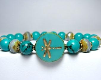 Turquoise Dragonfly Bracelet, Nature Bracelet, Insect Bracelet, Ladies Beaded Bracelet, Blue Bracelet, Czech Dragonfly Bracelet