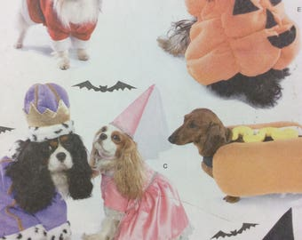 Simplicity 3952 UNUCT Dog Costume Pattern Pumpkin Hot Dog Santa Witch Princess & King Costumes For Dogs Sewing Pattern FF Size SM Med