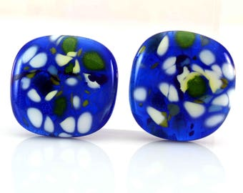 Blue Mosaic Cabs Handmade Lampwork Glass Cabochon Set