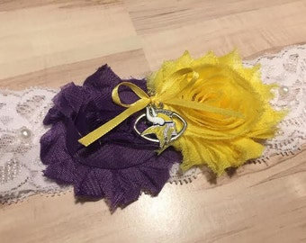 Minnesota Vikings Wedding Garter / Vikings Wedding Garter / Wedding Garter / Lace Garter / Bridal Garter