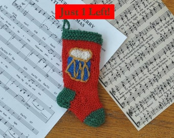 Drum Hand-Knit Christmas Stocking Ornament