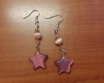 Pink Cat's Eye Earrings