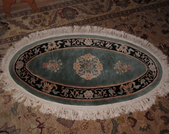 Vintage 1970's Oval Chinese 100  Wool Rug Carpet , 37 by 64 inches , Oriental Motifs , Florals