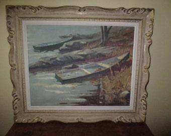 Vintage 1960's Large Quebec Canadian Oil Painting Signed R.R.Picard , Listed Quebec Artist , Canadian Artist