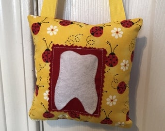 Tooth Fairy Pillow, Girls Tooth Fairy Pillow, Ladybug tooth fairy pillow