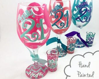 Free Personalization - Finally 21 - Personalized Wine Glass Shot glass 21st Birthday - Chevron, Tribal, Arrows