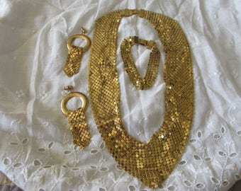 Vintage Ladies GOLD MESH Demi Parure SET Pierced Dangling Earrings Bracelet & Necklace Unmarked Circa 1960's Collectible Anniversary Wedding