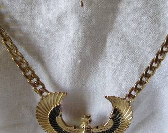 """ISIS EGYPTIAN Winged GODDESS Deity Measures 17"""" + 7"""" Ext Necklace Marked Gold Tone Ladies Collectible Statement Piece Good Condition"""