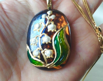 Lily of the Valley Hand Painted Ochre Glass Necklace,OOAK,Glass Enamel on Ochre Glass,Handmade Emerald Green Antique Gold Pearl,Wearable Art