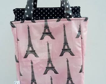 REDUCED Wipe clean insulated Paris lunch bag, Eiffel Tower lunch tote, gift for her, teacher gift, baby bottle bag