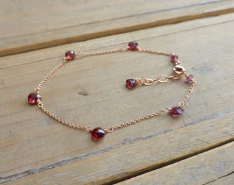 Pink Rhodolite Garnet and 14k Pink Rose Gold Teardrop Bracelet