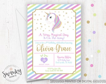 Unicorn Birthday Invitations, Magical Birthday Invitation, Rainbow Invitation, Unicorn Party Printables, Unicorn Invite, Unicorn Party Ideas