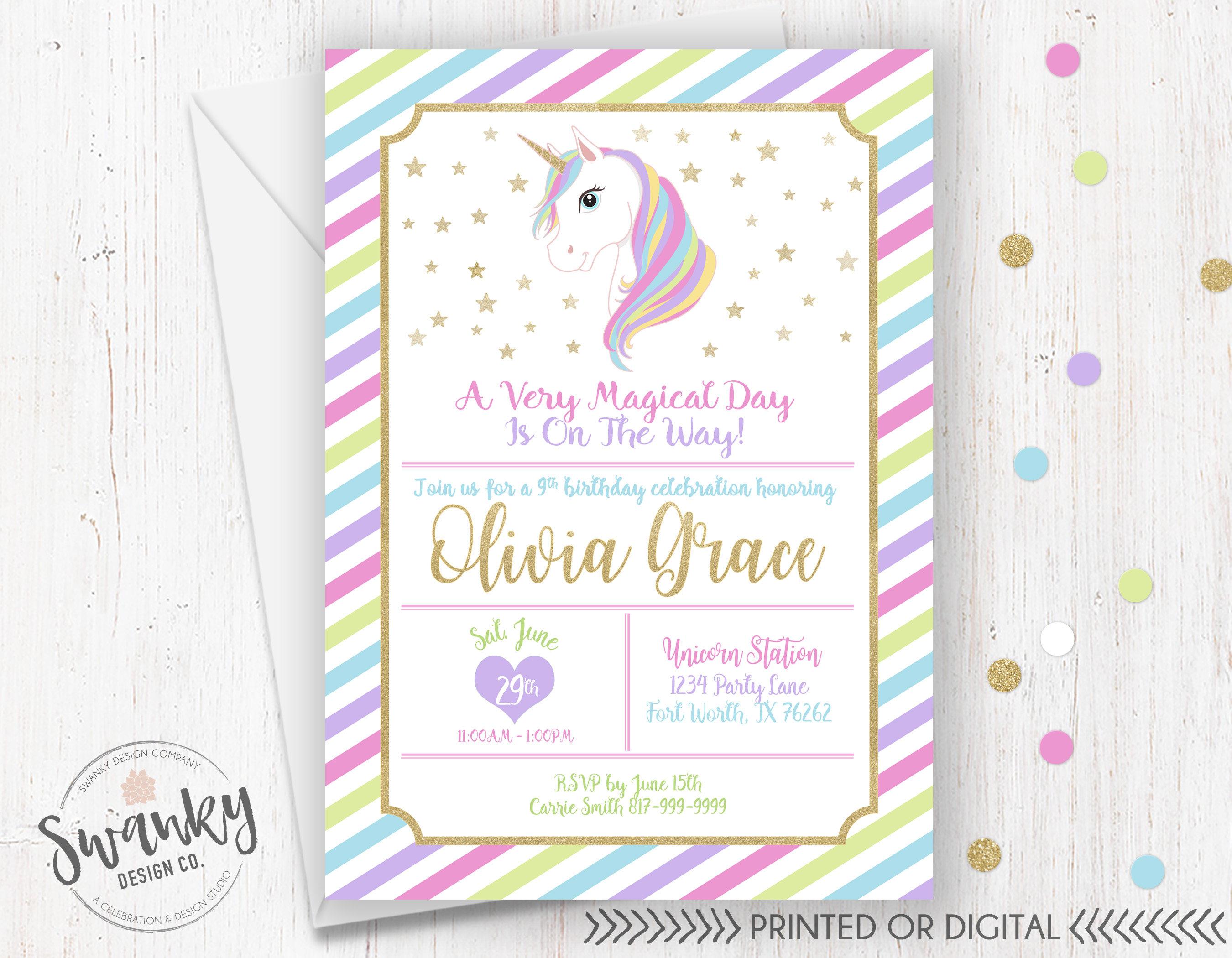 Unicorn Birthday Invitations Magical Birthday Invitation