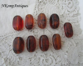 Faux amber bead x 9