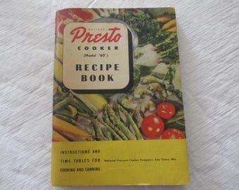 Presto Cooker (Model 60) Recipe Cookbook 1946