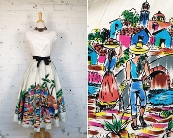 Vintage 1950s Scenic Hand Painted Mexican Circle Wrap Skirt