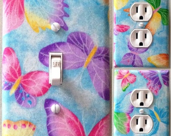 Blue butterflies light switch wall plate covers nursery, kid room bathroom ,bedroom decor