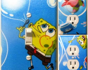 Sponge Bob Square Pants and Patrick light switch wall plate covers nursery, kid room bathroom ,bedroom decor