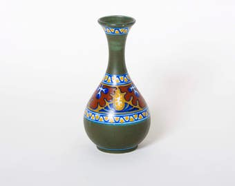 Vintage gouda vase, Gouda Holland pottery, Netherlands pottery, Old collectible ceramics, Green Gouda vase, Gouda Candia vase, Candia Gouda