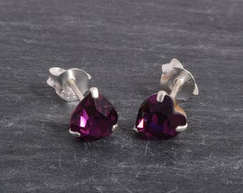 Sterling Silver Crystal heart Earrings Ear Studs handmade