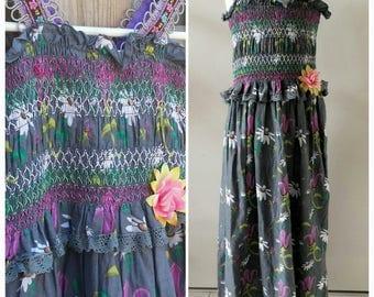 Girls Summer Dress ELEGANT GREY Handmade OOAK