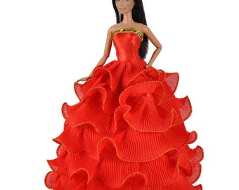 Handmade Dolls Clothes Red Wedding Dress Party Gown With Hat For Barbie Dolls