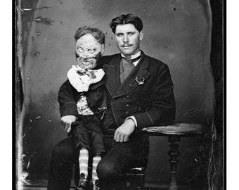 Creepy Ventriloquist Dummy Doll, 1860's, B&W Photo Print