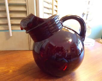 RUBY RED Glass Ball Tilted PITCHER, Mid Century Red Glass Juice Pitcher