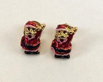 Vintage Santa Earrings on Posts