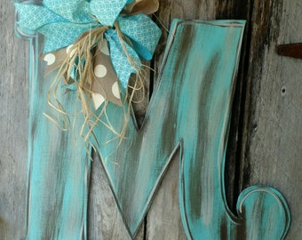 Monogram Door Hanger, distressed monogram door hanger, letter door hanger