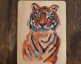Tiger Illustration art on wood 7.8x5.9 inch - wall decoration