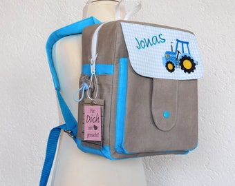 Kindergarten backpack design with turquoise, taupe uni and tractor embroidery
