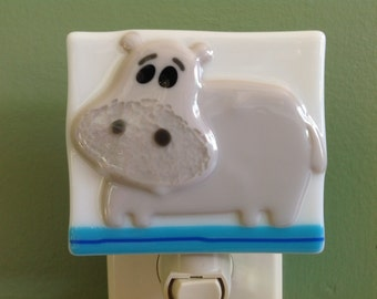 Hippo, Nursery, Fused Glass, Night Light, Nightlight, Hippopotamus, Zoo Animal, Safari Animal, Plug In, Wall Light
